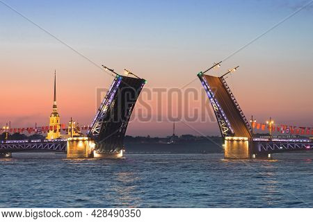 The Rise Of The Palace Bridge In St. Petersburg During The White Nights On June 25, 2021 St. Petersb