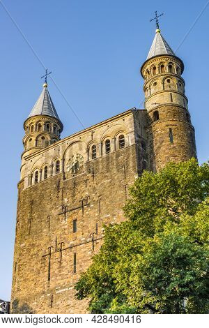 Front Towers Of The Historic Basilica Of Our Lady In Maastricht, Netherlands