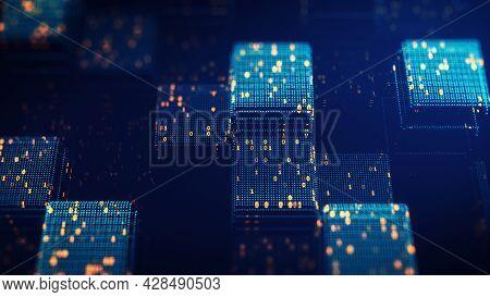 Block Chain Concept. Big Data Binary Code Futuristic Information Technology, Data Flow. Transferring