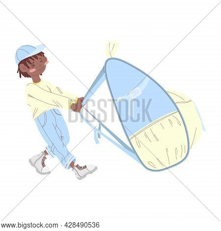 An African American Boy In A Cap Drags A Large Backpack. Concept Back To School. Cartoon Illustratio