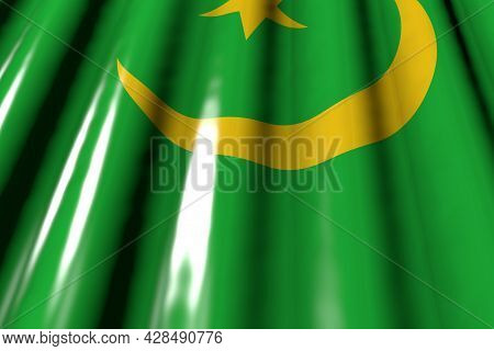 Beautiful Glossy - Looks Like Plastic Flag Of Mauritania With Big Folds Lie Diagonal - Any Celebrati