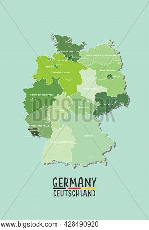 Germany (deutschland) Vector Map With Regions And Major Cities
