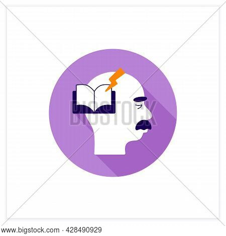 Reading Problems Flat Icon.difficulties With Spelling Sounds, Concentration. Alzheimer Disease. Neur