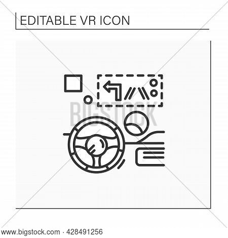 Head Up Display Line Icon. Transparent Display Presents Data Without Requiring Users To Look Away Fr