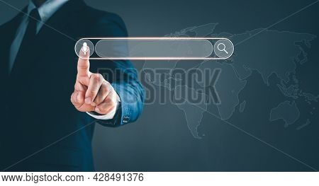 The Man In A Suit Point To The Sign Of The Voice And Sound Search Engine Optimization Seo Networking