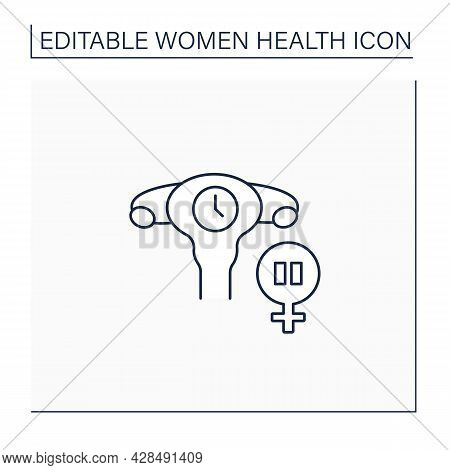 Menopause Line Icon. Women Menstrual Cycles End. Climacteric. Health Care. Woman Health Concept. Iso