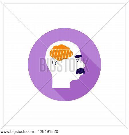 Moderate Alzheimer Disease Flat Icon. Damaged Language, Senses, Reasoning, Consciousness Skills. Neu