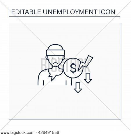 Beggar Line Icon. Penniless Person. Man Without Money, Food, Work. Asking About Cash. Unemployment C