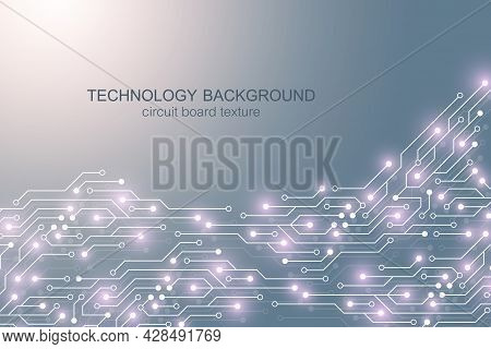 Motherboard Vector Background With Circuit Board Electronic Elements. Electronic Texture For Compute