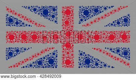 Mosaic Great Britain Flag Designed With Infection Items. Vector Covid-2019 Collage Great Britain Fla