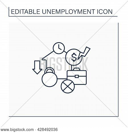 Structural Unemployment Line Icon. Mismatch Between Jobs Available And Unemployed Skill Levels. Long