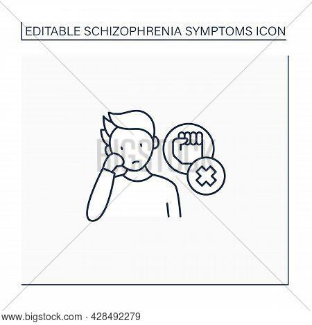 Negative Symptoms Line Icon.low Interest, Enthusiasm.problems With Motivation, Lack Of Self-care.sch
