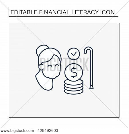 Savings Line Icon. Investing And Planning For Retirement. Pension Fund. Accumulate Money For Better