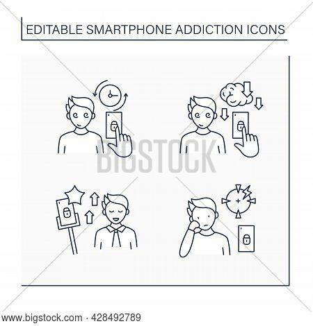 Smartphone Addiction Line Icons Set. Virtual World. Encouraging Self Absorption, Diminishing Ability
