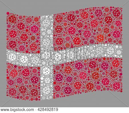 Mosaic Waving Denmark Flag Constructed Of Covid-2019 Items. Vector Covid-2019 Collage Waving Denmark