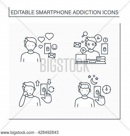 Smartphone Addiction Line Icons Set.virtual Relationship, Information Overload, Boredom. Overwhelmed