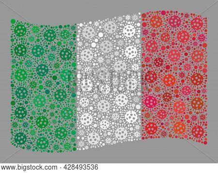 Mosaic Waving Italy Flag Created Of Covid Elements. Vector Covid-2019 Collage Waving Italy Flag Orga
