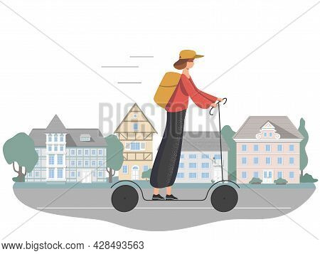 A Beautiful Young Girl Rides An Electric Scooter With A Backpack To Deliver Orders. Home Delivery, E