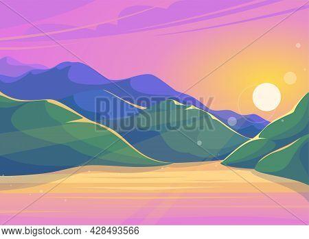 Evening Panorama - Sunset In The Mountains. Mountain Lake At Sunset. Flat Cartoon Colorful Illustrat