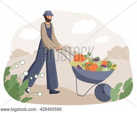 Happy Adult Man Farmer Pulls A Cart With A Bunch Of Fresh Vegetables On The Background Of The Field.