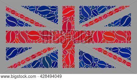 Mosaic Uk Flag Created With Coffee Seed Elements. Vector Coffee Mosaic Uk Flag Created For Coffee De