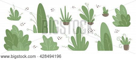 Set - Trees, Grass, Bushes And Flowers In A Modern Flat Style. Simple Vector Set Of Plants For Backg
