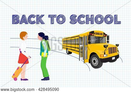 Illustration Of A Scene Of A Bus School And Two Girls Talking With Back To School Phrase