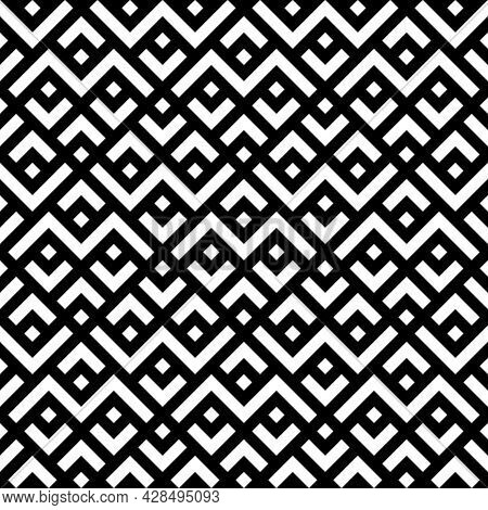 Geometric Pattern Seamless Zigzag. Abstract Background With Diamond Shapes, Black And White. Texture
