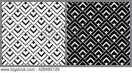 Diamond Shape Monochrome. Geometric Background Pattern Seamless. Surface Design For Apparel, Textile