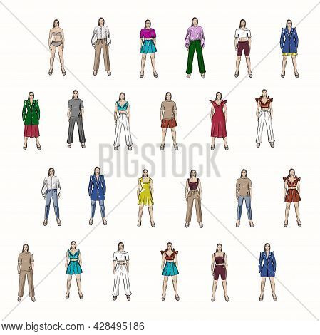 Girls In Different Looks From The Basic Wardrobe. Various Fashionable Options For Combining Clothing