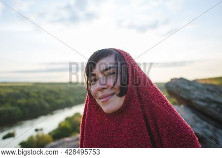 Smiling Girl In A Pullover At The Top Of The Hill, Portrait Of A Woman Enjoying The Beauty Of Nature