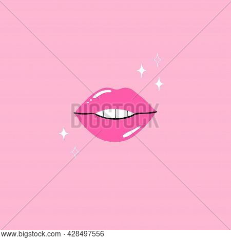 Pink Lips. Female Sexy Lipstick Modern Poster Or Card. Woman Lip With Makeup, Tongue And White Teeth