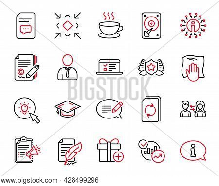 Vector Set Of Line Icons Related To Minimize, People Communication And Graduation Cap Icons. Laureat