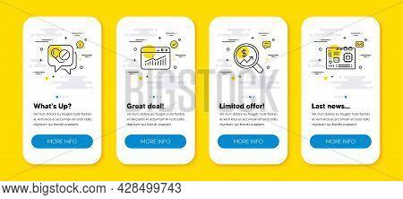 Vector Set Of Website Statistics, Medical Drugs And Currency Audit Line Icons Set. Ui Phone App Scre
