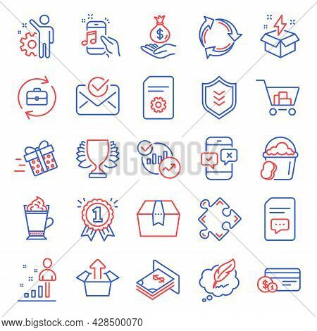 Line Icons Set. Included Icon As Latte Coffee, Atm Money, Payment Method Signs. Comments, Copyright