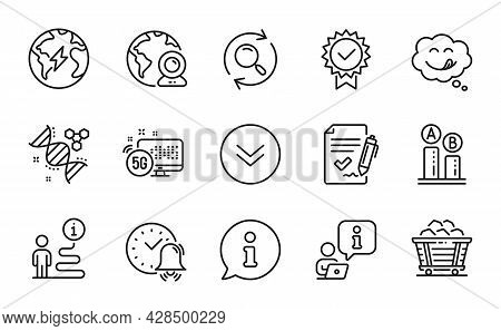 Technology Icons Set. Included Icon As Scroll Down, Ab Testing, Yummy Smile Signs. Certificate, Vide