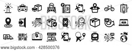Set Of Transportation Icons, Such As Flight Destination, Hand Baggage, Shuttle Bus Icons. Exit, Dest