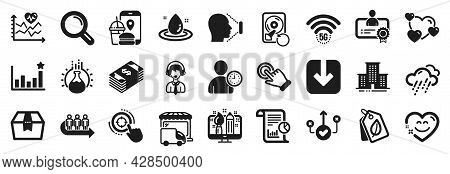 Set Of Business Icons, Such As 5g Wifi, Food App, Recovery Hdd Icons. Certificate, Queue, Seo Target