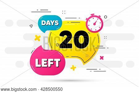 Twenty Days Left Icon. Countdown Number On Abstract Flow Pattern. 20 Days To Go Sign. Count Offer Da