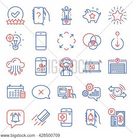 Technology Icons Set. Included Icon As Rating Stars, Winner Podium, Euler Diagram Signs. Maximize, A
