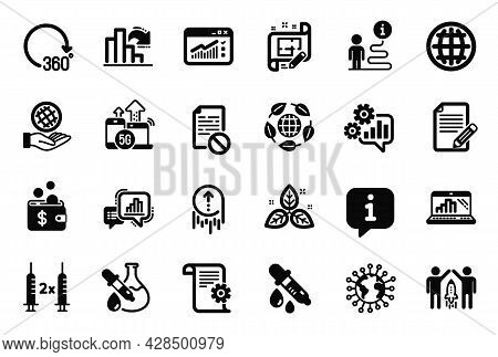 Vector Set Of Science Icons Related To Chemistry Pipette, Graph Laptop And 360 Degrees Icons. Corona