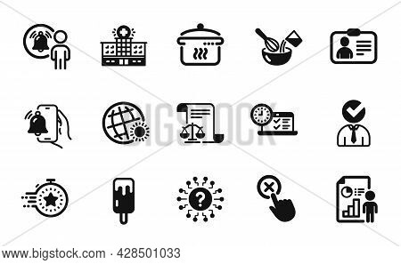 Vector Set Of Reject Click, Legal Documents And Ice Cream Icons Simple Set. Question Mark, User Noti