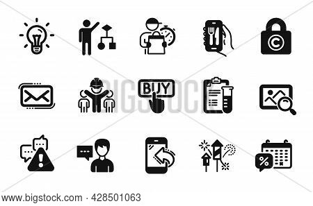 Vector Set Of Copyright Locker, Discounts Calendar And Engineering Team Icons Simple Set. Warning, S