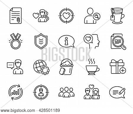 Vector Set Of Romantic Talk, Add Gift And Man Love Line Icons Set. Group, Headhunting And Message Ic