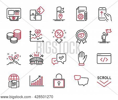 Vector Set Of Business Icons Related To Tips, Cardio Training And Graph Chart Icons. Internet Docume