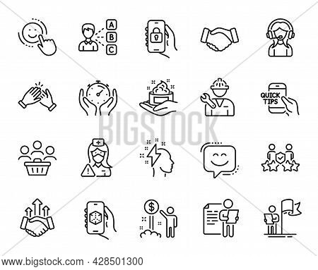 Vector Set Of Smile, Repairman And Smile Face Line Icons Set. Buyers, Locked App And 3d App Icons. S
