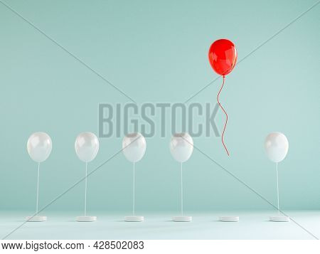 Red Balloon Floating Out From Blue Balloons That Are Tied On Blue Background , Performance Outstandi