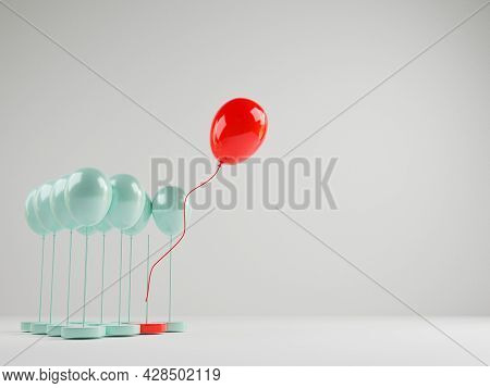 Red Balloon Floating Out From Blue Balloons That Are Tied On White Background , Performance Outstand