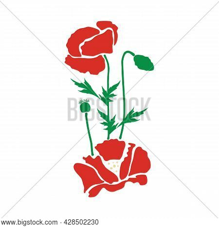 Two Red Poppy Flowers With Green Bud, Boll And Leaves. A Bouquet Of Meadow Flowers. Hand Drawn Vecto