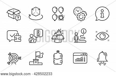 Business Icons Set. Included Icon As Web Traffic, Health Eye, Augmented Reality Signs. Target, Clock